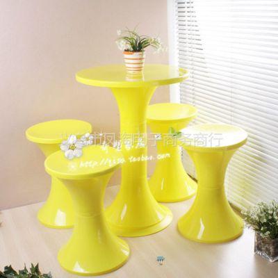 供应时尚家居圆鼓凳配桌 可拆装塑料圆桌 彩色时尚休闲桌 大号