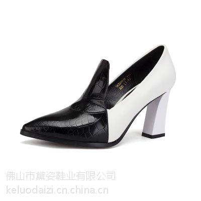 2016秋季新款真皮女鞋欧美时尚尖头女单鞋拼色粗跟高跟鞋一件批发