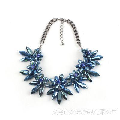 欧美大牌时尚蓝色宝石水晶项链女短款毛衣链奢华衣服配链百搭配饰