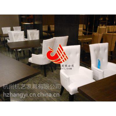 供应杭州茶餐厅软包餐椅/酒店家具进口皮餐椅/西餐厅实木做旧复古餐桌配套