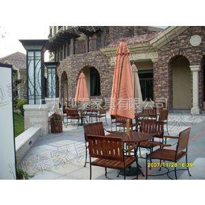 供应YTB-106钢木桌椅万科售楼部休闲椅景观桌椅太阳伞5件套