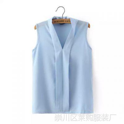 XLWI 8894#  欧美新款2015夏季女装 纯色雪纺衫 女士V领无袖小衫