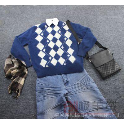 14新款男士圆领貂绒衫毛衣 保暖超越羊绒衫批发 毛衣特价热卖促销