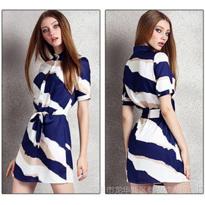 欧洲站夏季新款韩版通勤女装修身立领雪纺条纹连衣裙短袖短裙子