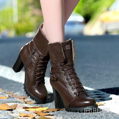 古奇天伦7815中筒靴真皮女靴粗跟加棉女鞋英伦骑士靴秋冬新款