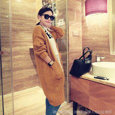 新品2014新款女装韩版显瘦长款毛衣针织衫宽松开衫女外套厂家批发