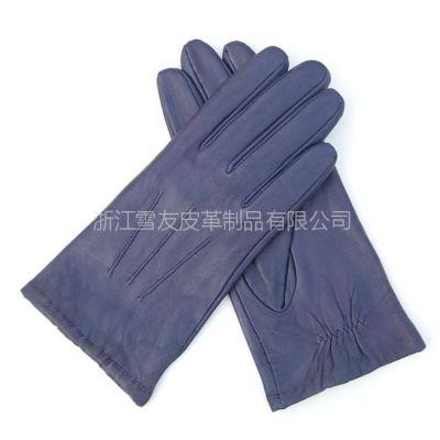 供应特价绵羊皮手套 女 时尚紫色现货真皮手套