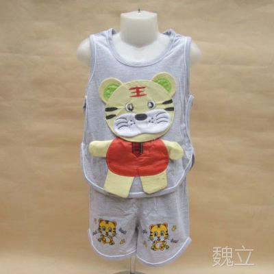 2014夏装新款 婴幼儿琵琶套装 老虎造型背心套装 儿童短裤套装