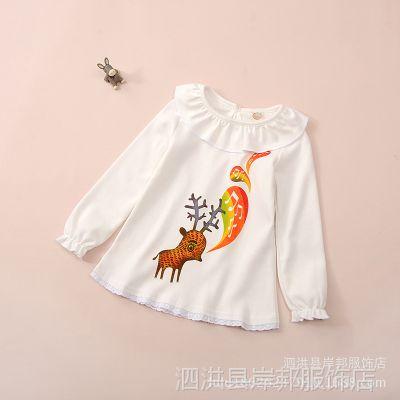 2015秋季新款 外贸女童长袖T恤 全棉镂空荷叶领套头打底衫