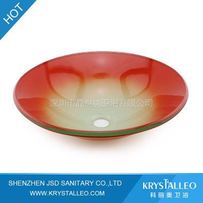 供应新款热卖 红色手绘盆玻璃洗手盆 洗面盆龙头 洗脸盆台上盆配套