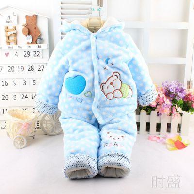 宝宝冬季棉衣套 儿童珊瑚绒连帽加厚棉衣二件套 婴幼儿棉服
