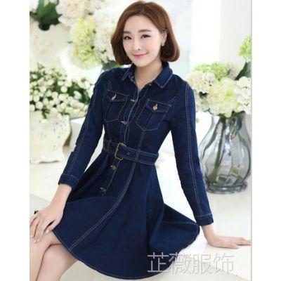 新款韩国高端品牌韩版女装长袖修身荷叶边牛仔连衣裙女外套牛仔裙
