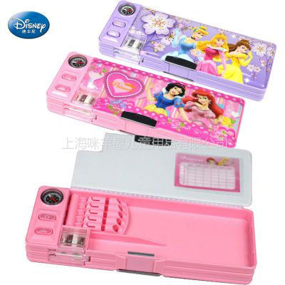 供应批发正品迪士尼铅笔盒多功能文具盒公主双面笔盒指南针塑胶笔盒