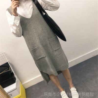 2016秋季新款韩版女装开叉中长款宽松V领针织衫马甲毛衣背心外套