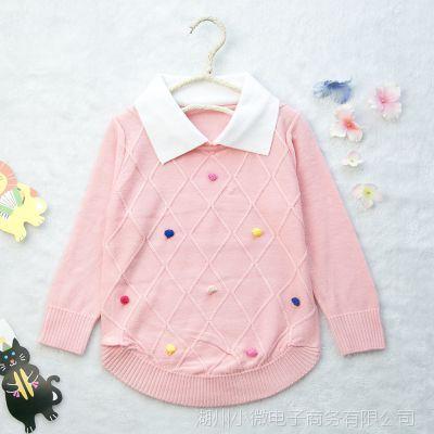2015春秋装新款韩版时尚娃娃领纯棉长袖中小童针织毛衣厂家直销