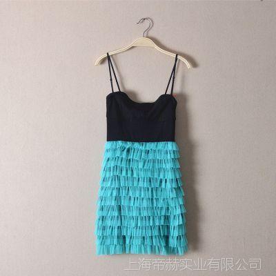 外贸原单日式吊带连衣裙 2015夏季新款女装纱网蓬蓬蛋糕裙连衣裙