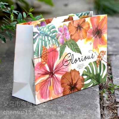义乌服装纸袋加工厂 白卡纸手提纸袋印刷 海盾包装手提纸袋定做价格
