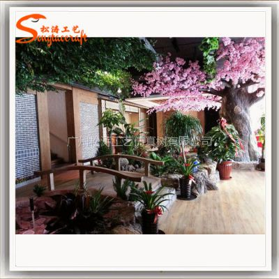 农家乐造景 仿真植物布置餐厅 广州仿真植物厂家 生态餐厅造景装修