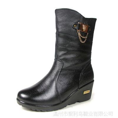 新款潮时尚冬季中老年人保暖妈妈鞋休闲真皮牛皮女鞋棉鞋棉靴批发