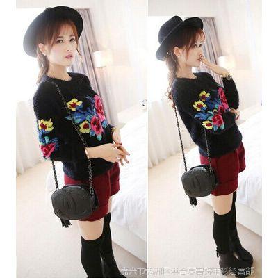 新款海马毛毛衣女韩版宽松套头毛衣秋冬低领打底衫外穿短款外套