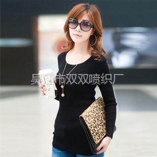 供应2012秋冬新款韩版女装低圆领长袖修身针织打底衫 毛衣女