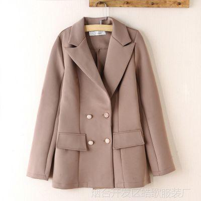 大牌同款女式短款纯色小西装上衣  日韩外贸原单女装批发