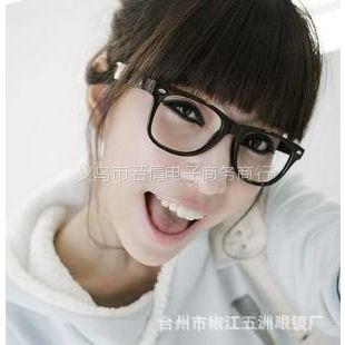供应范冰冰***爱小辣椒同款复古达人大框铆钉平光眼镜 框架眼镜批发