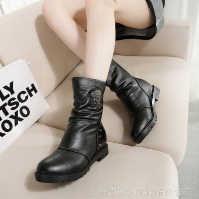 2015秋冬季新款铆钉中筒靴机车靴马丁靴粗跟短靴女靴子鞋子批发