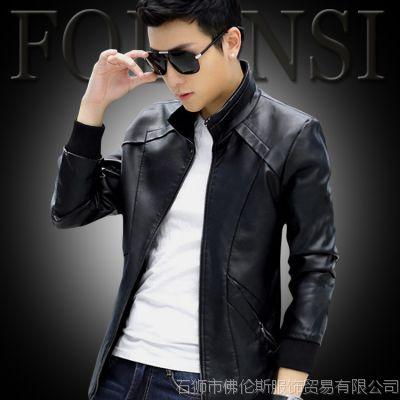 品牌男装2015春季男式大码PU皮衣 男士皮衣时尚立领薄款外套批发