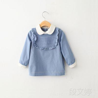 2015新款童装春装女童长袖娃娃领上衣衬衣 女宝宝上装衬衫 2色