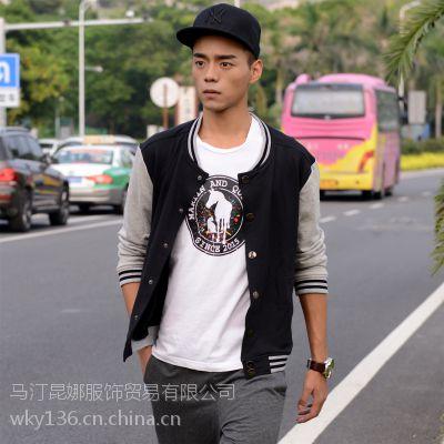 品牌原创纯棉加厚黑色拼接外套街头嘻哈男士棒球服青少年开衫卫衣