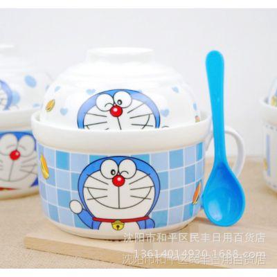 厂家爆款陶瓷泡面碗 泡面杯套装可爱方便面碗汤碗带勺