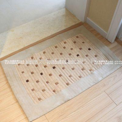 供应批发 咖点雪尼尔手工编织包边地垫/点状地毯/卧室毯/门垫
