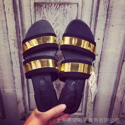 Zar*a懒人拖土豪金亮片搭配簏皮绒拖鞋真皮拖鞋女鞋真皮凉鞋