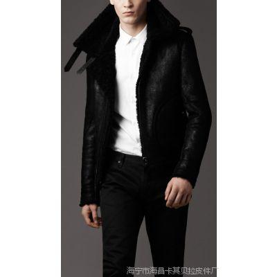 厂家供应2013新款黑色羊羔毛皮毛一体男式夹克 皮衣