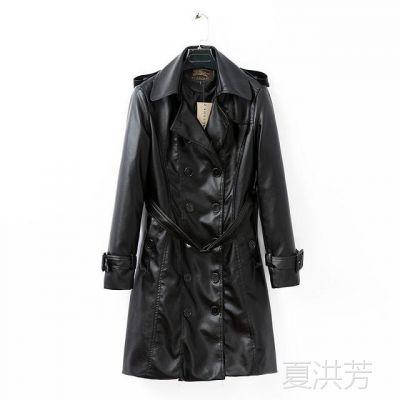 2014秋冬装新款双排扣中长款修身pu皮衣风衣女大衣外套 9299