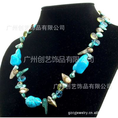 供应不定形绿松石珍珠项链