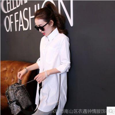 2015春季新款长袖衬衫女韩版女装修身时尚宽松中长款衬衣衬衫女