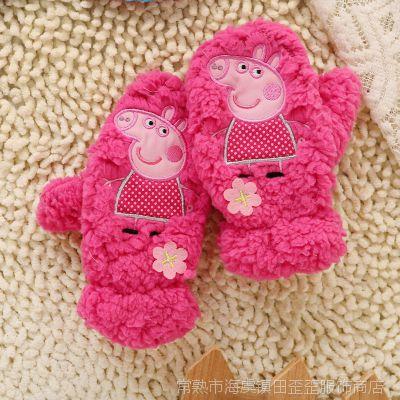 佩佩猪女童帽子手套两件套 粉红猪小妹 PEPPA PIG外贸原单摇粒绒