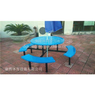 厂家直销户外餐桌 奶茶店桌椅 八人位半月型圆桌 玻璃钢餐桌椅