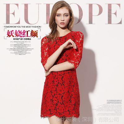 欧洲站高端女装2015春装新款连衣裙 红色七分袖修身蕾丝连衣裙