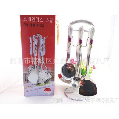 新款韩式高档陶瓷厨具七件套装410不锈钢锅铲勺厨房用品礼品批发