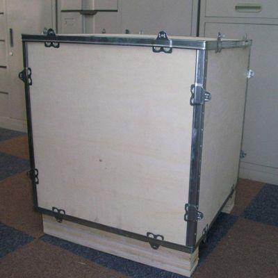 供应订做包装木箱子 出口免检钢带包边箱 大小机械设备包装箱方便拆装带托盘