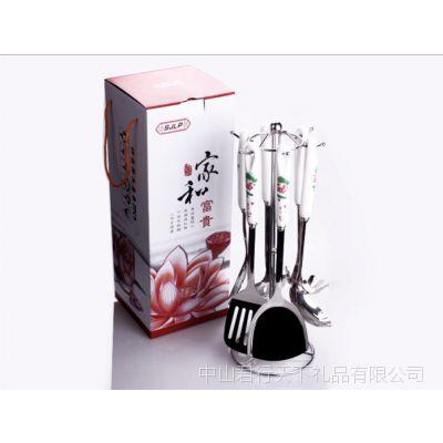 陶瓷柄厨具套装、烹饪勺铲套件 不锈钢厨具、促销居家实用礼品