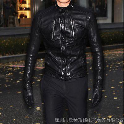 2015韩版男士皮衣进口绵羊男式真皮皮衣外套短款双拉链机车皮夹克