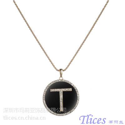供应时尚饰品自主品牌Tlices 特价热销时尚圆形T字合金毛衣链