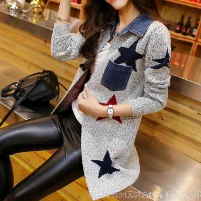 新品春秋外套韩版女士毛衣女针织开衫女大衣牛仔拼接羊毛衫女批发