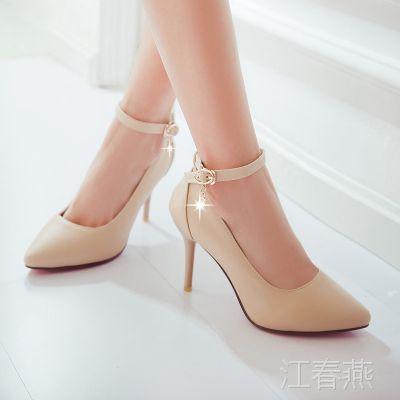 批发2014新款女鞋防水台高跟单鞋时尚经典一字式扣带女鞋做大码鞋
