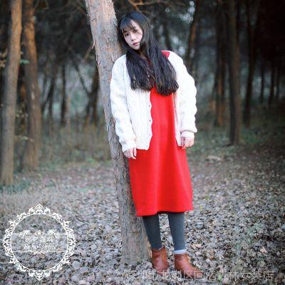 echo shine冬原创自制文艺简约保暖纯棉针织摇粒绒长裙打底连衣裙