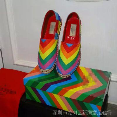 香港IT代购时尚糖果色条纹拼色女鞋民族风单鞋微信一件代发37344